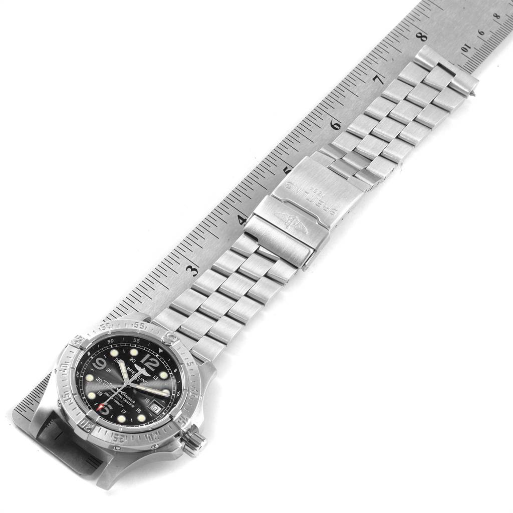 22231 Breitling Aeromarine Superocean Steelfish Black Dial Mens Watch A17390 SwissWatchExpo