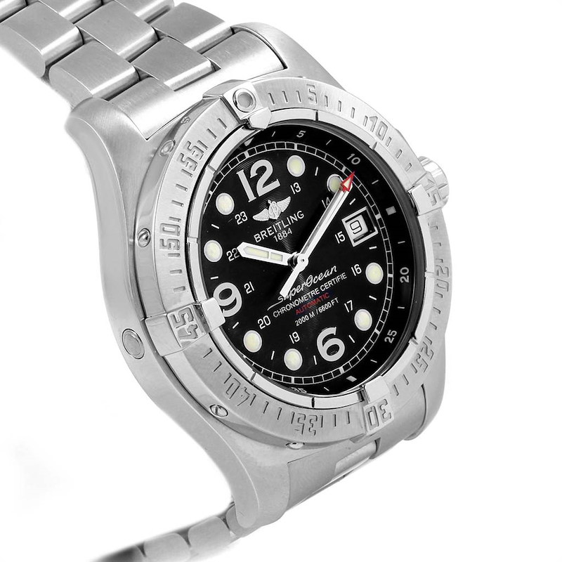 Breitling Aeromarine Superocean Steelfish Black Dial Mens Watch A17390 SwissWatchExpo