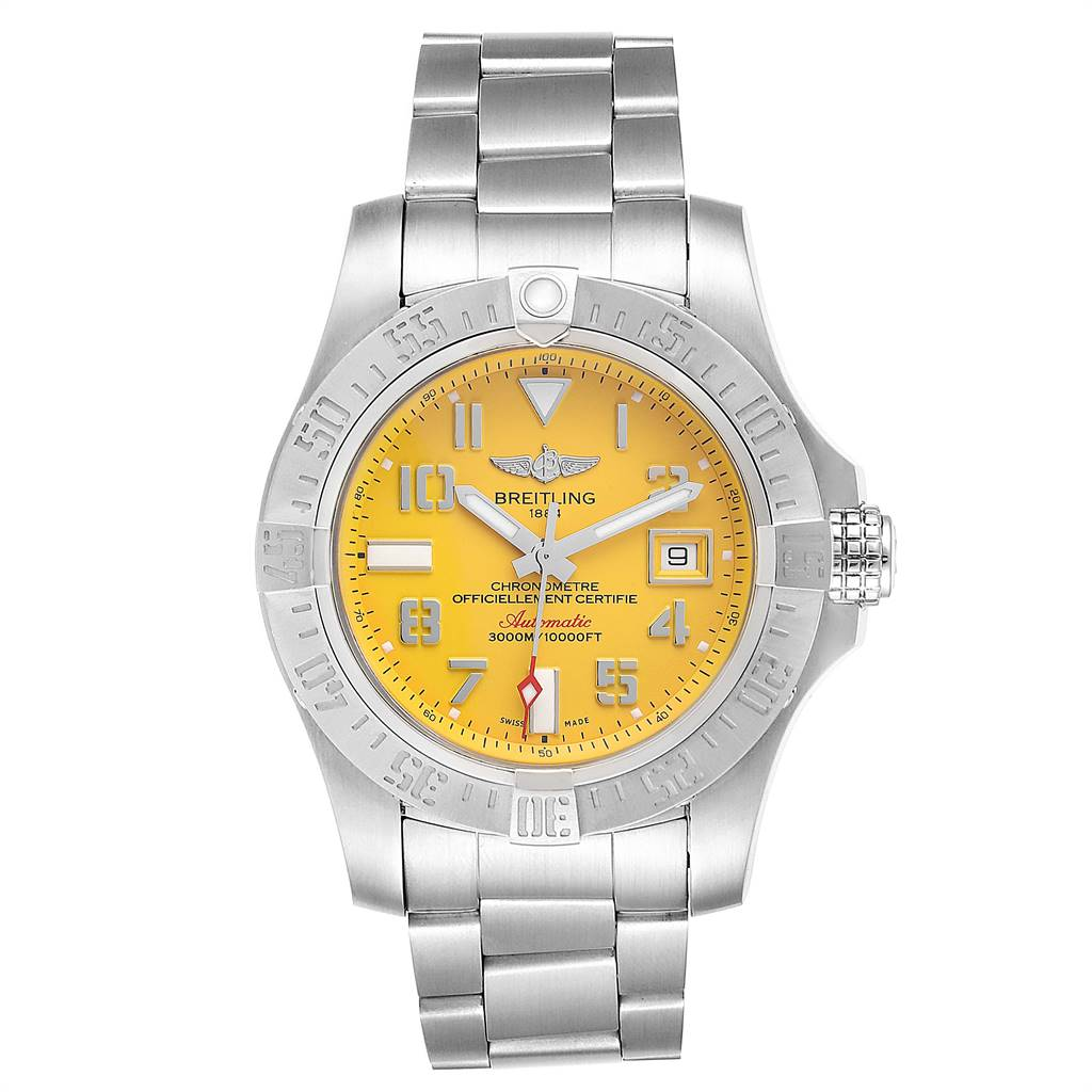 Breitling Avenger II 45 Seawolf Yellow Dial Mens Watch A17331 Box Card SwissWatchExpo
