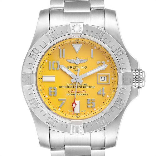 Photo of Breitling Avenger II 45 Seawolf Yellow Dial Mens Watch A17331 Box Card