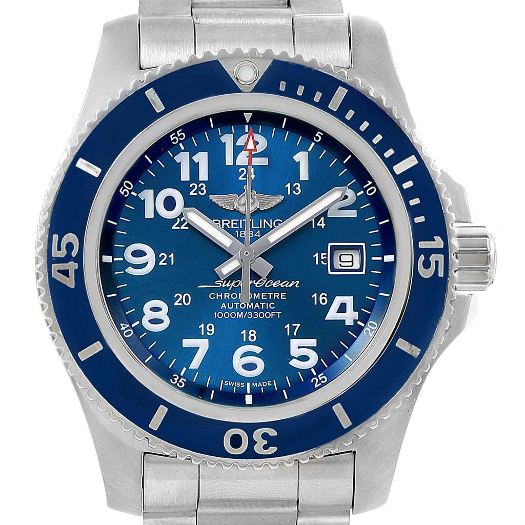 22402 Breitling Superocean II 44 Gun Blue Dial Mens Watch A17392 Box Card SwissWatchExpo