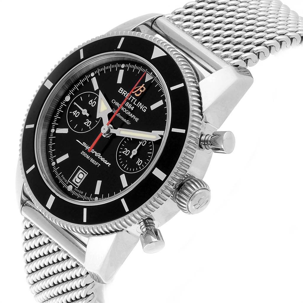 22399 Breitling SuperOcean Heritage 44 Chrono Black Dial Watch A23370 SwissWatchExpo