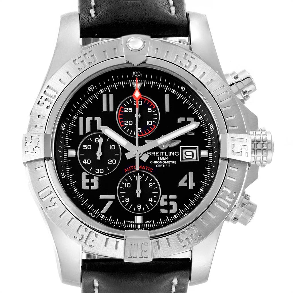 22078 Breitling Aeromarine Super Avenger Steel Mens Watch A13371 Box Papers SwissWatchExpo