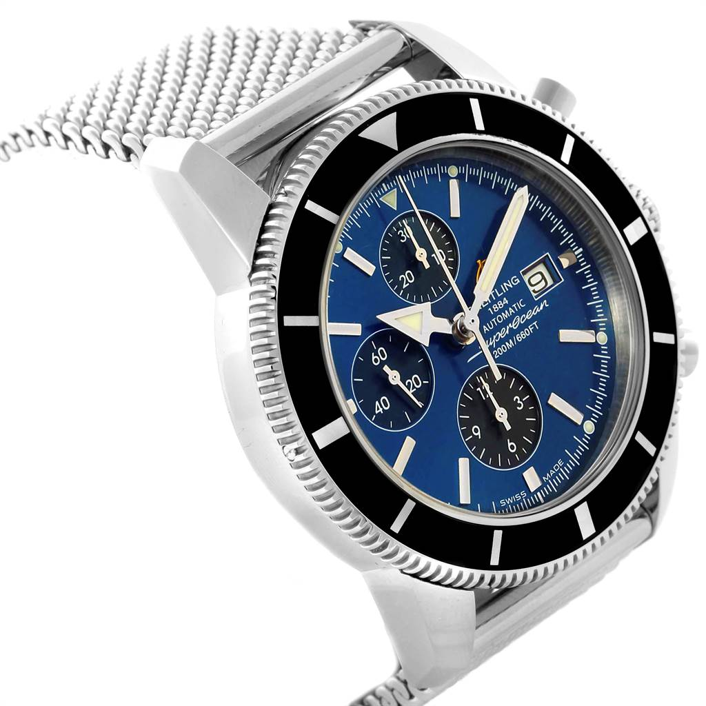 22852 Breitling SuperOcean Heritage Chronograph 46 Blue Dial Watch A13320 SwissWatchExpo