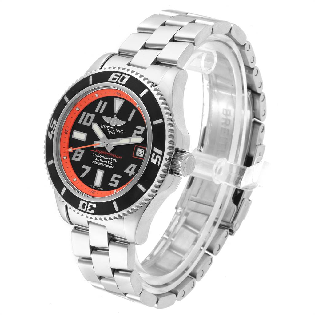 Breitling Superocean 42 Abyss Black Orange LE Mens Watch A17364 Box Papers SwissWatchExpo