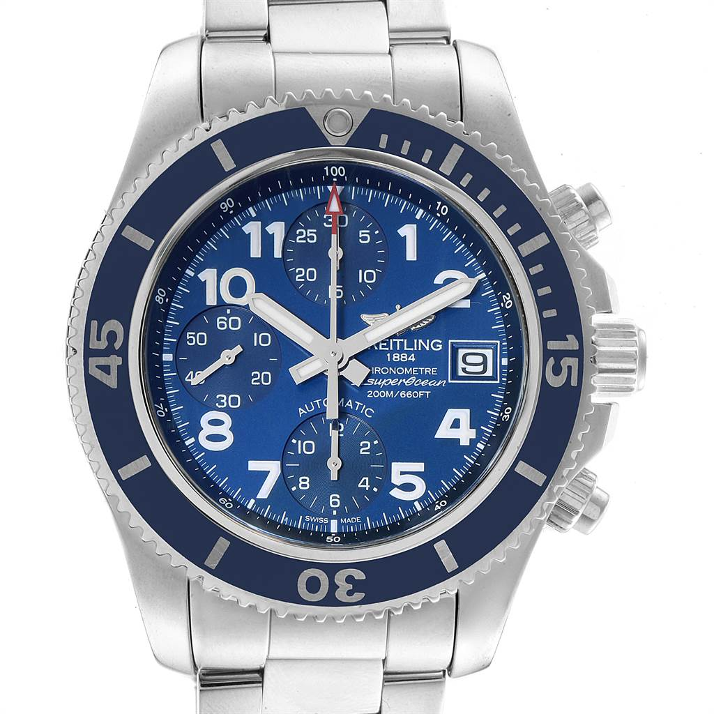 22824 Breitling Superocean Chronograph 42 Blue Dial Mens Watch A13311 SwissWatchExpo