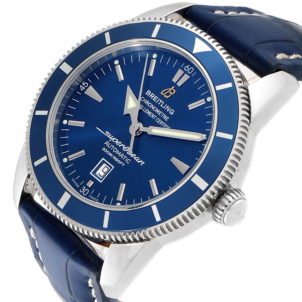 Breitling Superocean Heritage 46 Blue Dial Leather Strap Watch A17320 SwissWatchExpo