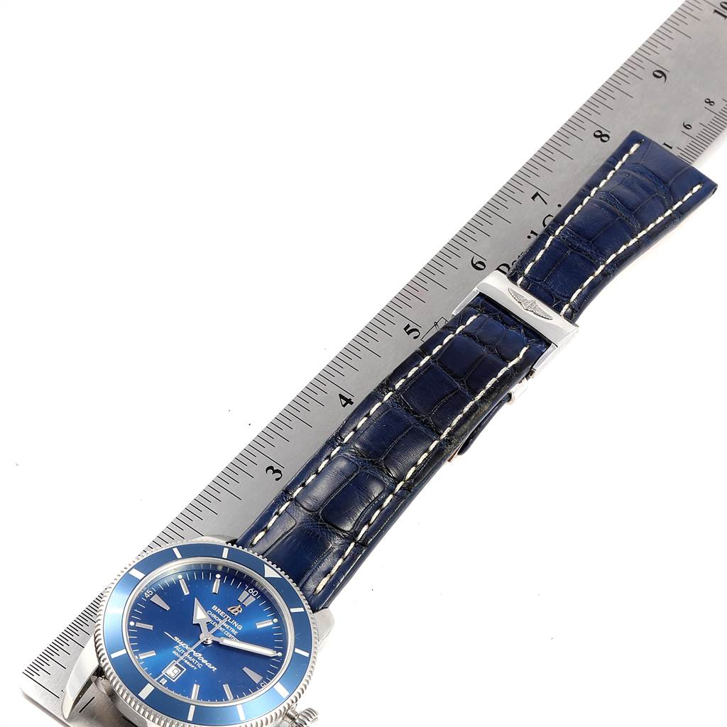 23246 Breitling Superocean Heritage 46 Blue Dial Leather Strap Watch A17320 SwissWatchExpo