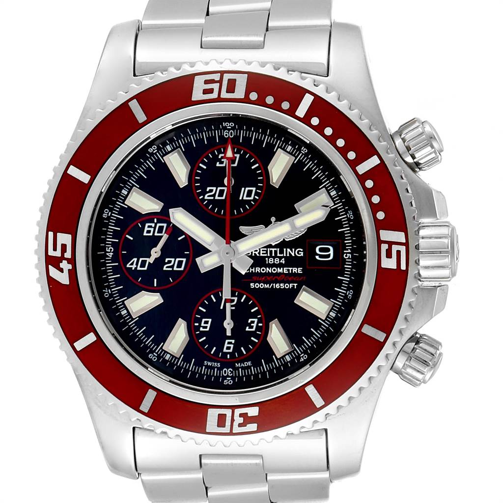 21536 Breitling Aeromarine SuperOcean II Red Bezel Limited Edition Watch A13341 SwissWatchExpo