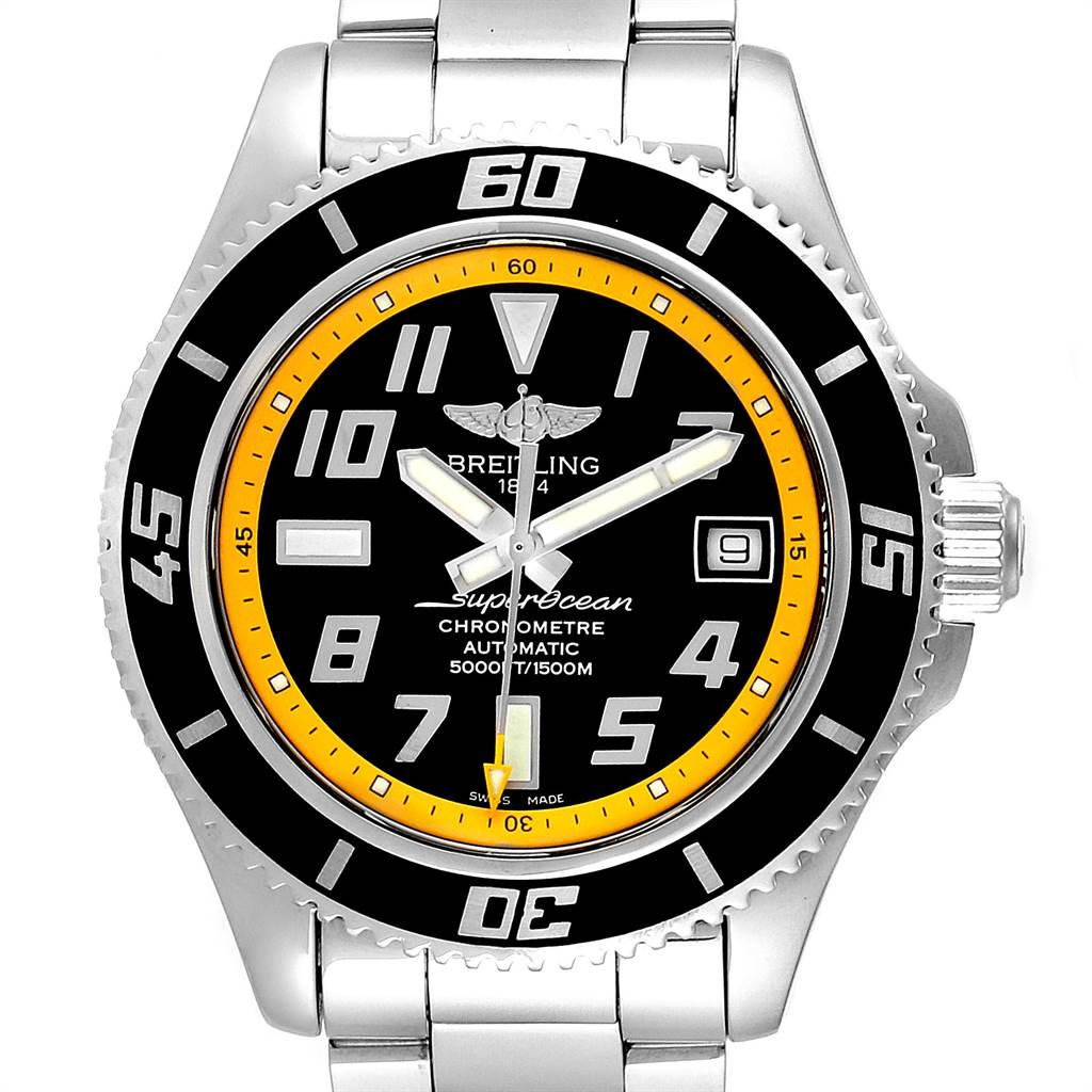 23671 Breitling Superocean 42 Abyss Black Yellow Automatic Mens Watch A17364 SwissWatchExpo