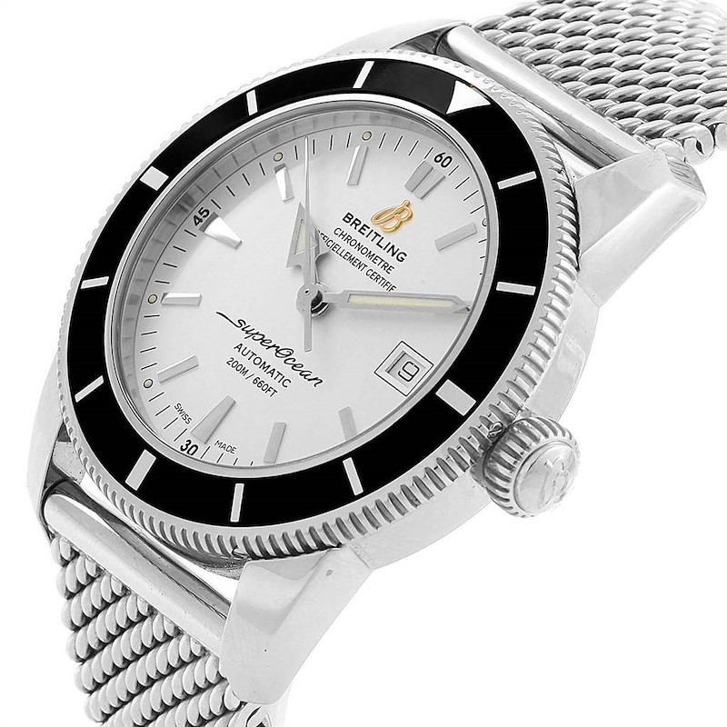 Breitling Superocean Heritage 42 Silver Dial Steel Mens Watch A17321 SwissWatchExpo