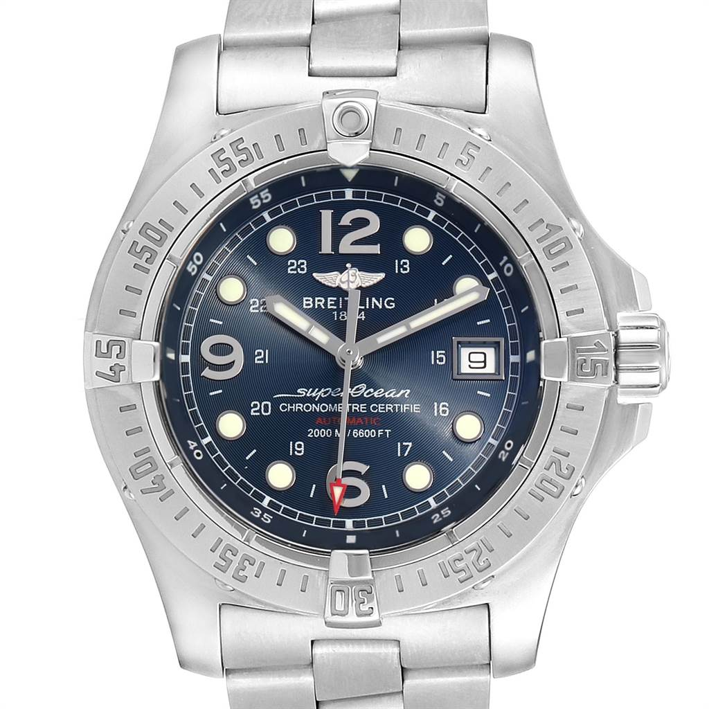 22387 Breitling Aeromarine Superocean Steelfish Blue Dial Mens Watch A17390 SwissWatchExpo