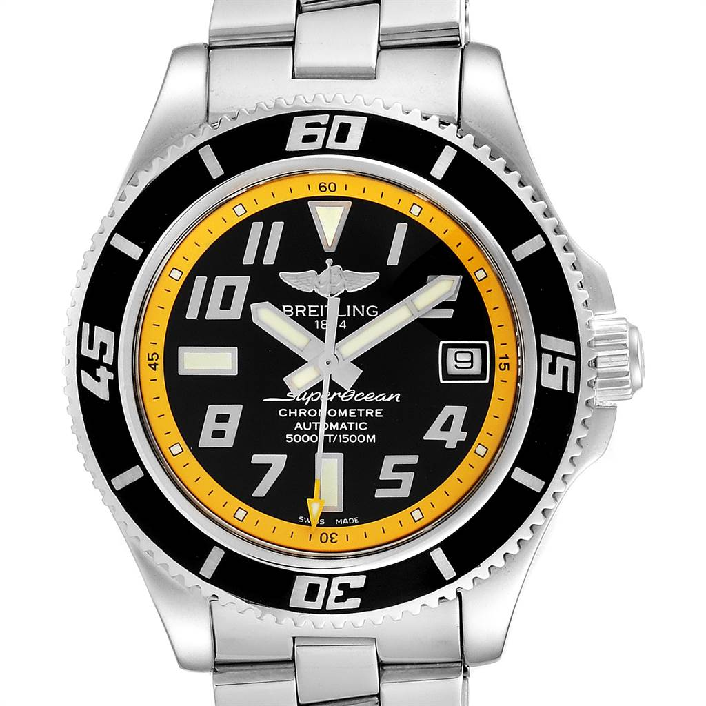 Breitling Superocean 42 Abyss Black Yellow Steel Mens Watch A17364 SwissWatchExpo
