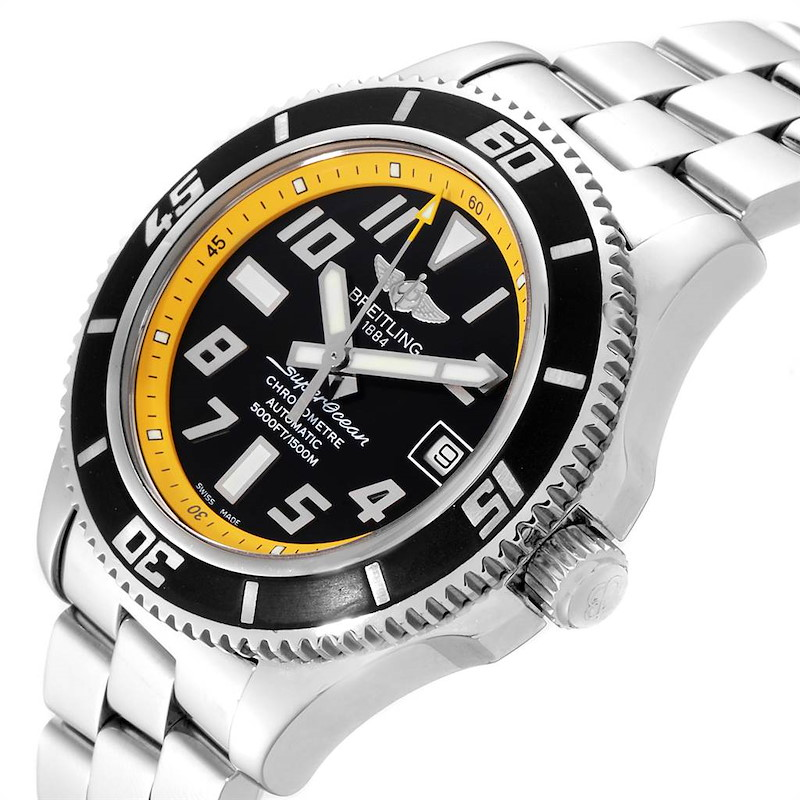 Breitling Superocean 42mm Abyss Black Yellow Steel Mens Watch A17364 Papers SwissWatchExpo