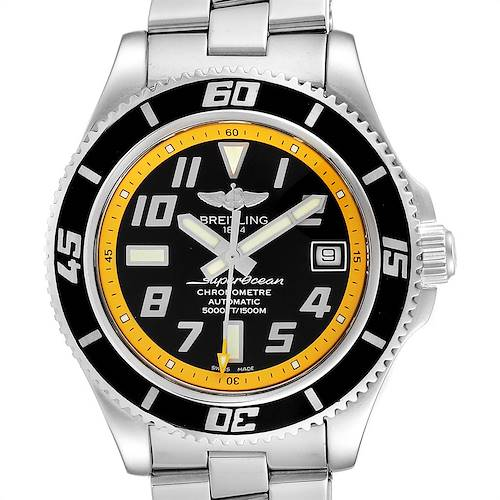 Breitling Superocean 42mm Abyss Black Yellow Steel Mens Watch A17364 Papers