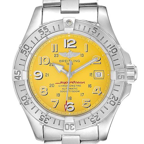 Photo of Breitling Superocean Steelfish Yellow Dial Steel Mens Watch A17360