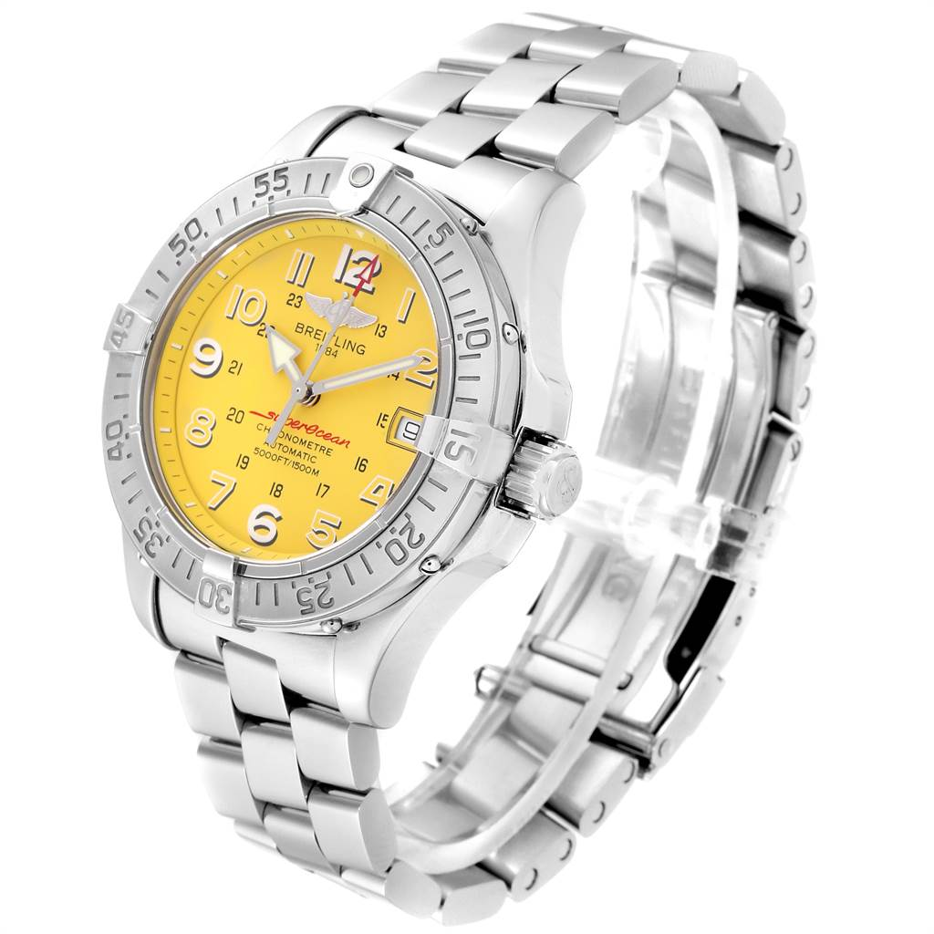 23637 Breitling Superocean Steelfish Yellow Dial Steel Mens Watch A17360 SwissWatchExpo