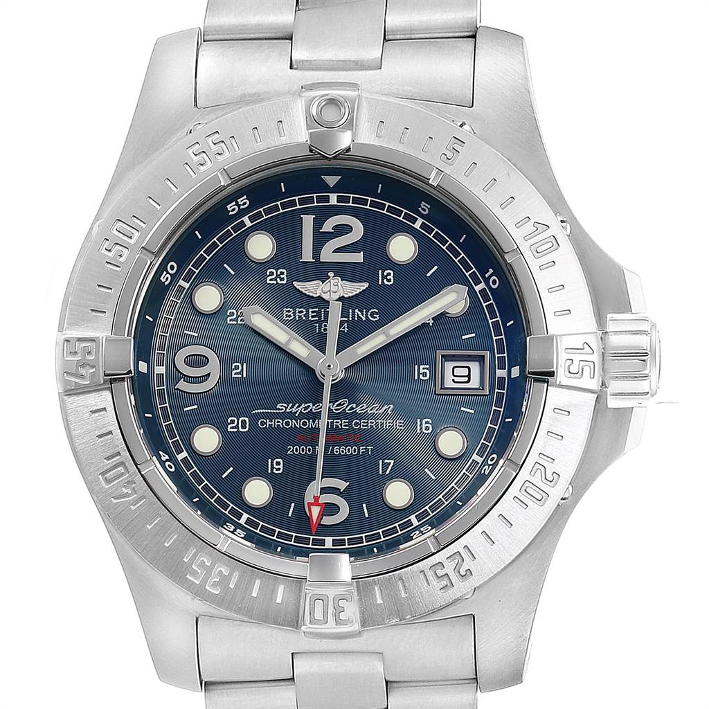 21524 Breitling Aeromarine Superocean Steelfish Blue Dial Mens Watch A17390 SwissWatchExpo