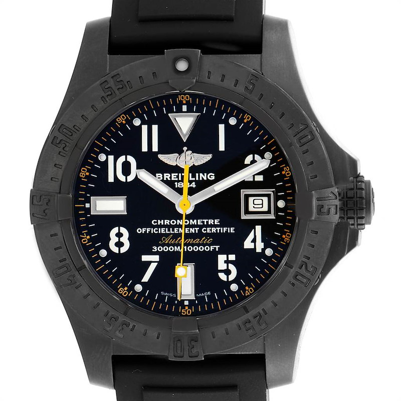 Breitling Avenger Seawolf Code Yellow Blacksteel LE Watch M17330 Box Papers SwissWatchExpo