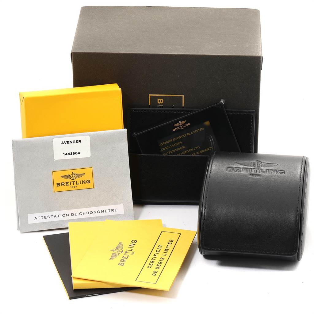 23819 Breitling Avenger Seawolf Code Yellow Blacksteel LE Watch M17330 Box Papers SwissWatchExpo