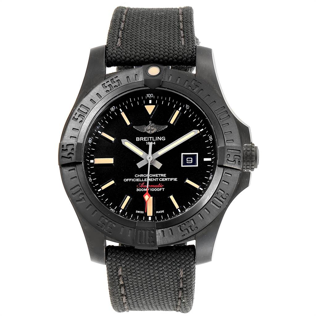 20408 Breitling Avenger Blackbird 48 Titanium Canvas Strap Mens Watch V17310 SwissWatchExpo