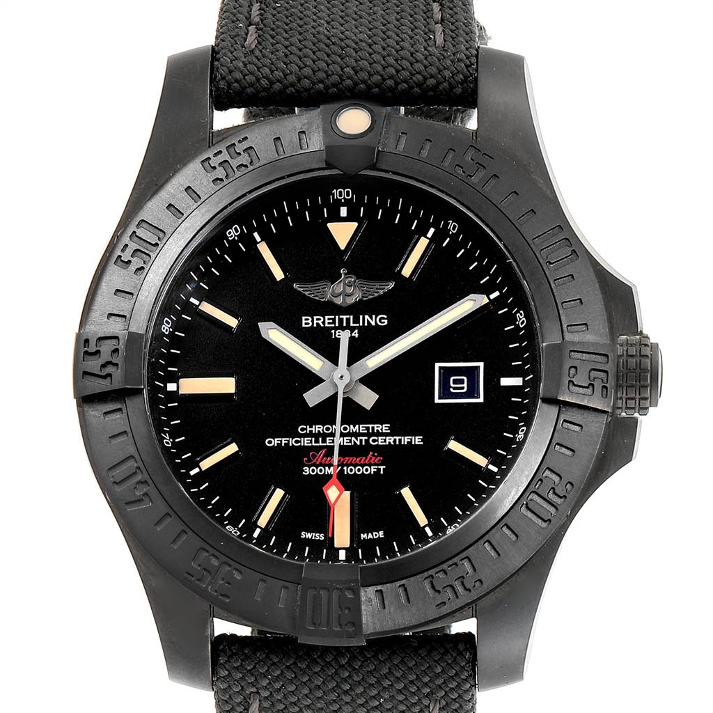 Breitling Avenger Blackbird 48 Titanium Canvas Strap Mens Watch V17310 SwissWatchExpo