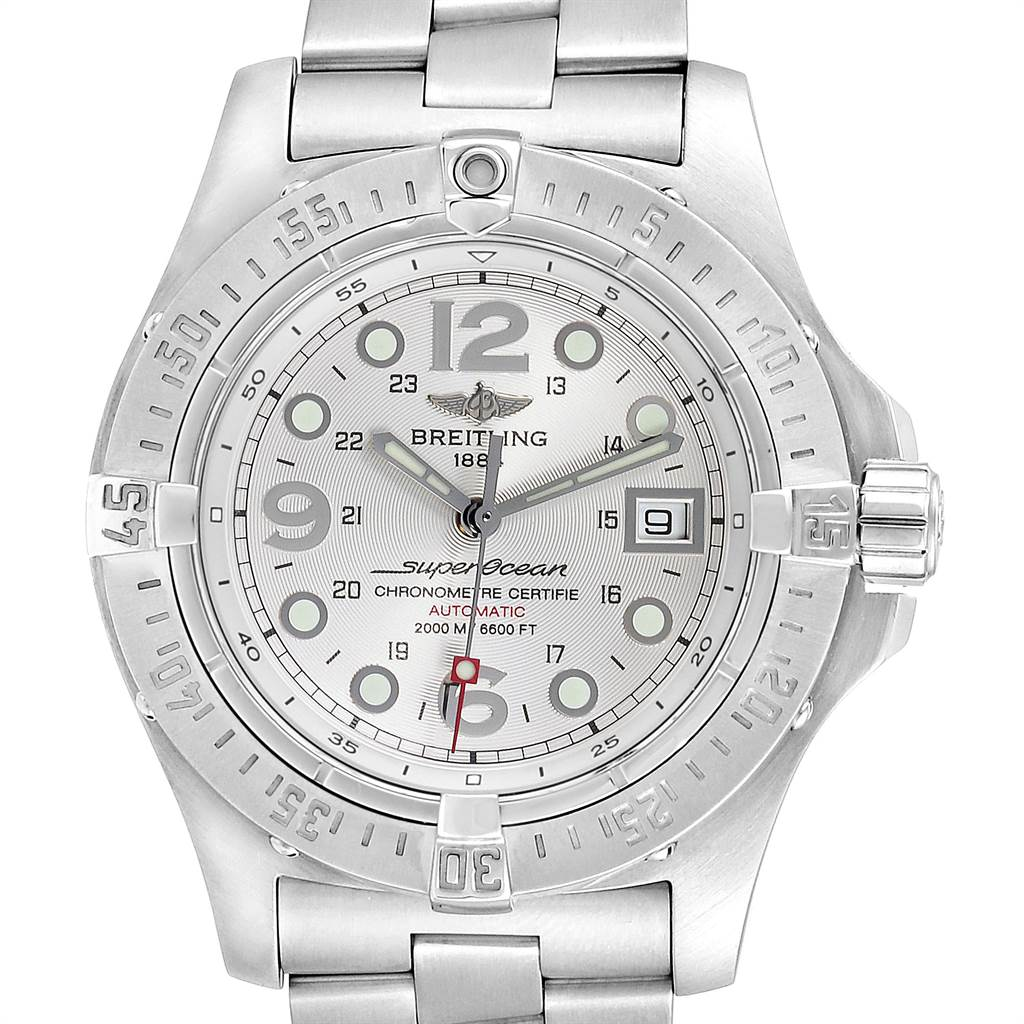 23808 Breitling Aeromarine Superocean Steelfish Silver Dial Mens Watch A17390 SwissWatchExpo
