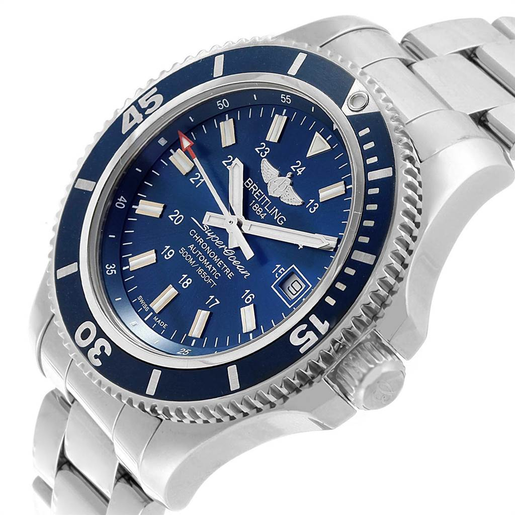 23994 Breitling Superocean II Blue Dial Steel Mens Watch A17365 SwissWatchExpo