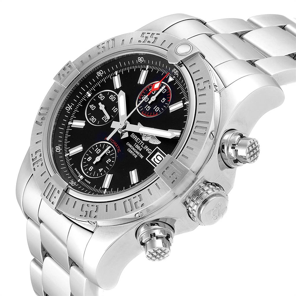 24121 Breitling Aeromarine Super Avenger Black Dial Watch A13381 Card SwissWatchExpo
