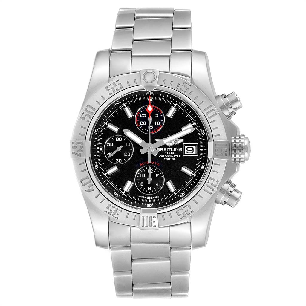 24121 Breitling Avenger II Chronograph Black Dial Watch A13381 Card SwissWatchExpo