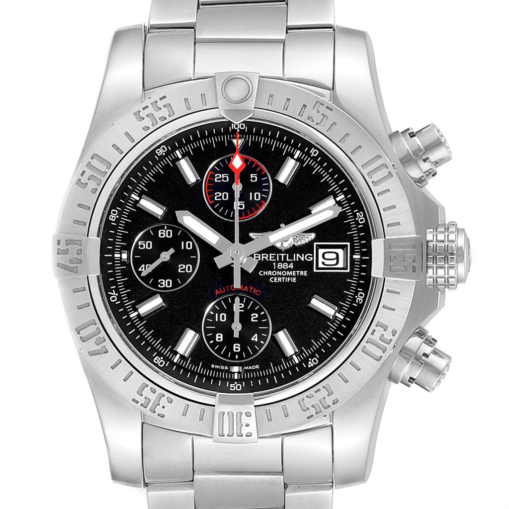 Breitling Avenger II Chronograph Black Dial Watch A13381 Card SwissWatchExpo