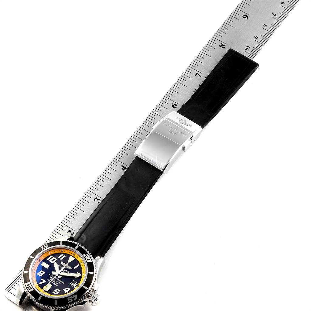 24070 Breitling Superocean 42 Abyss Black Yellow Steel Mens Watch A17364 SwissWatchExpo