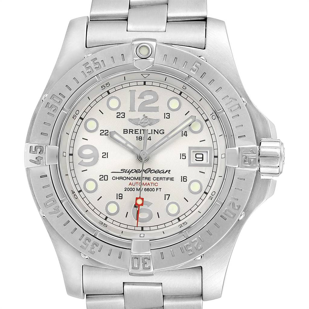 24142 Breitling Aeromarine Superocean Steelfish Silver Dial Mens Watch A17390 SwissWatchExpo