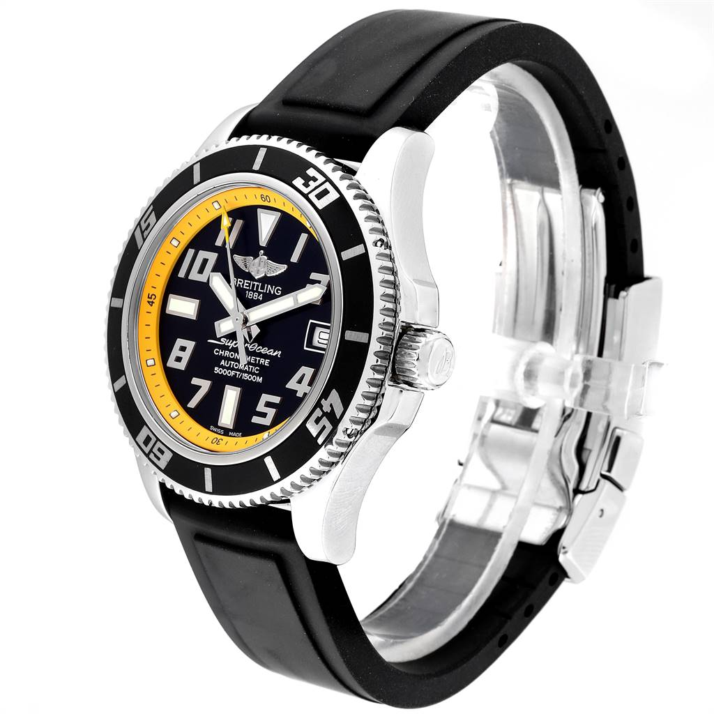 24069 Breitling Superocean Abyss Black Yellow Steel Mens Watch A17364 Papers SwissWatchExpo