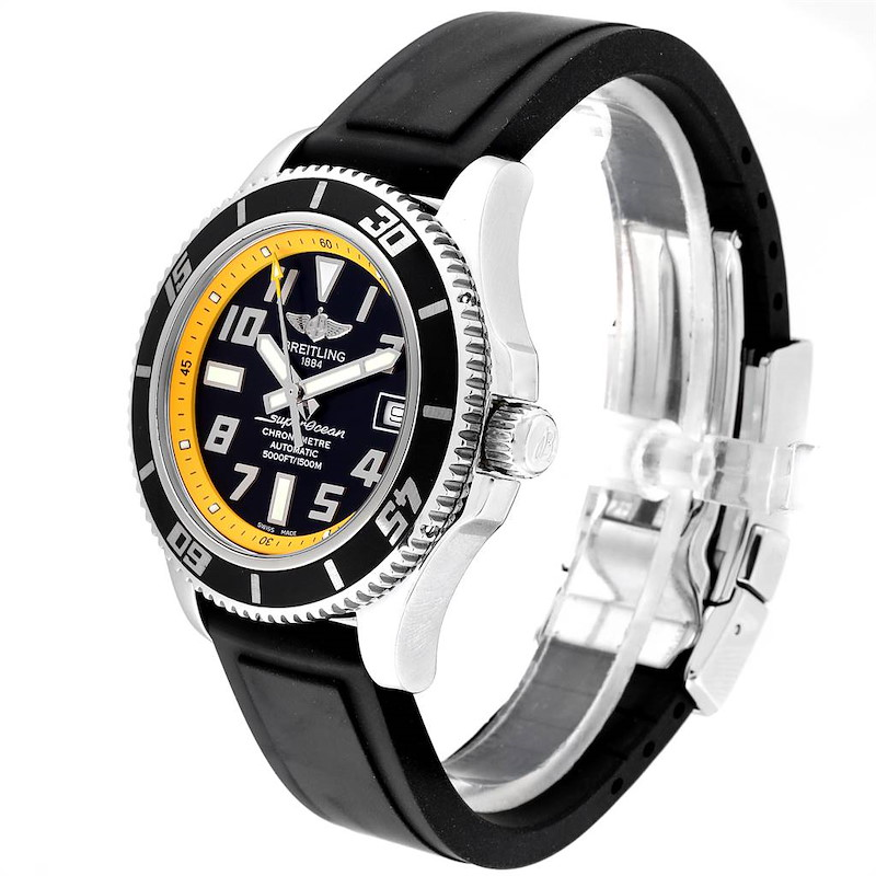 Breitling Superocean Abyss Black Yellow Steel Mens Watch A17364 Papers SwissWatchExpo