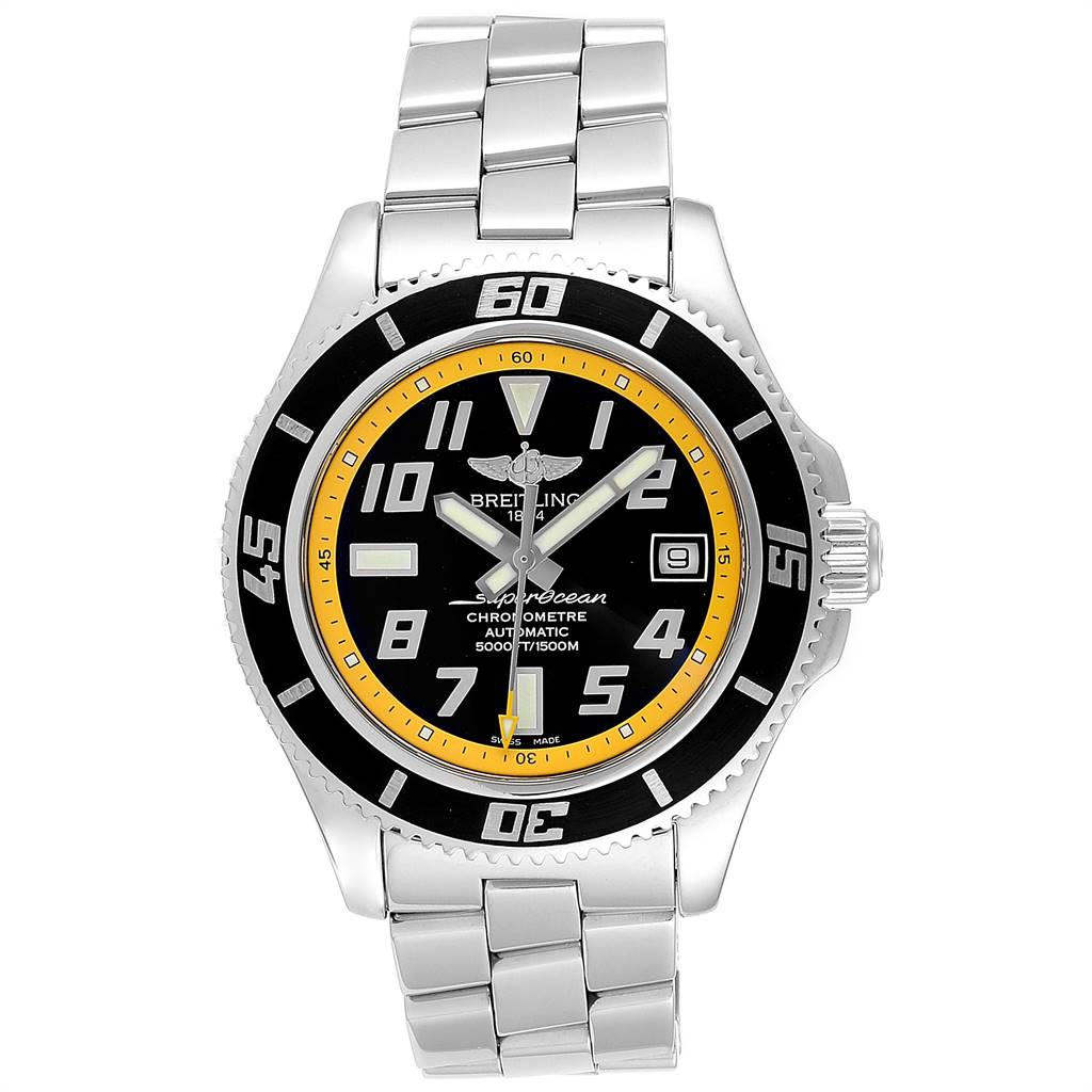 24101 Breitling Superocean 42 Abyss Black Yellow Mens Watch A17364 Box Papers SwissWatchExpo