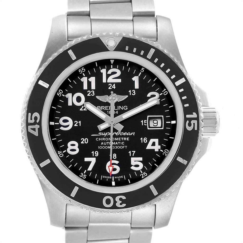 Breitling Superocean II 44 Black Dial Mens Watch A17392 Box Card SwissWatchExpo