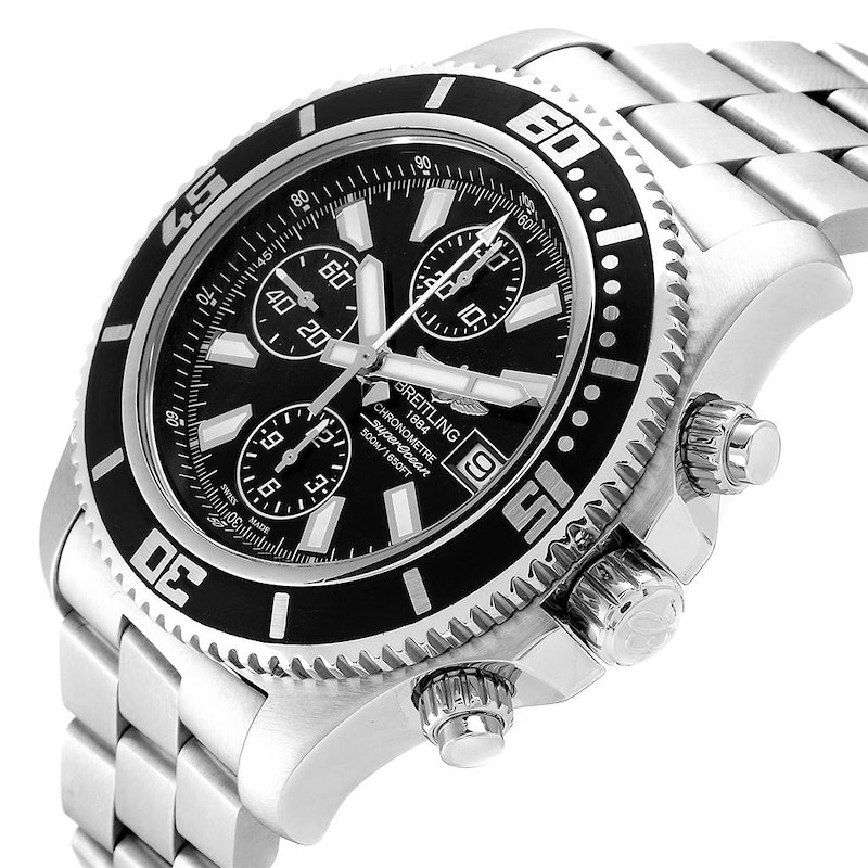 Breitling SuperOcean II Black Dial Chronograph Steel Mens Watch A13341 SwissWatchExpo