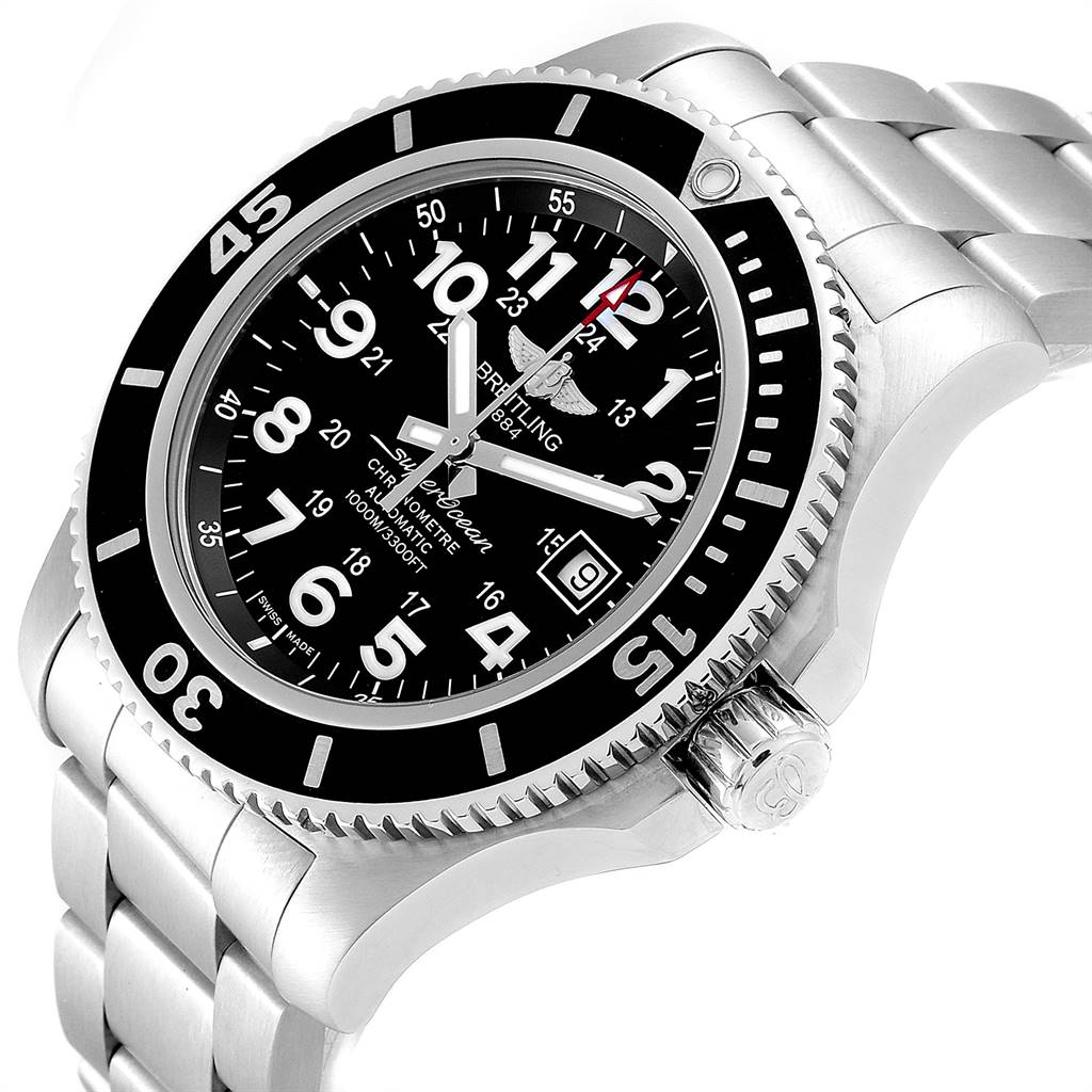 24748 Breitling Superocean II 44 Black Dial Mens Watch A17392 Box SwissWatchExpo