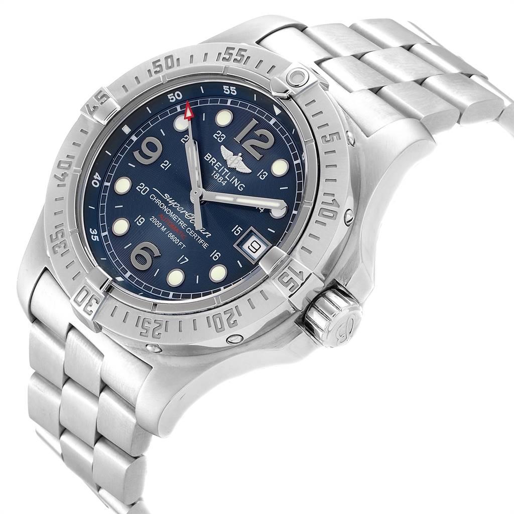 24079 Breitling Aeromarine Superocean Steelfish Blue Dial Mens Watch A17390 SwissWatchExpo