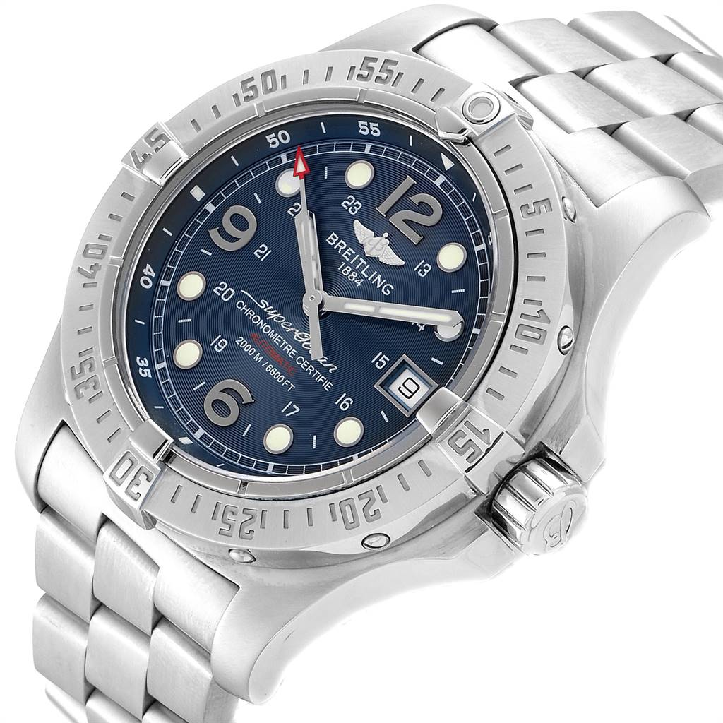 Breitling Aeromarine Superocean Steelfish Blue Dial Mens Watch A17390 SwissWatchExpo