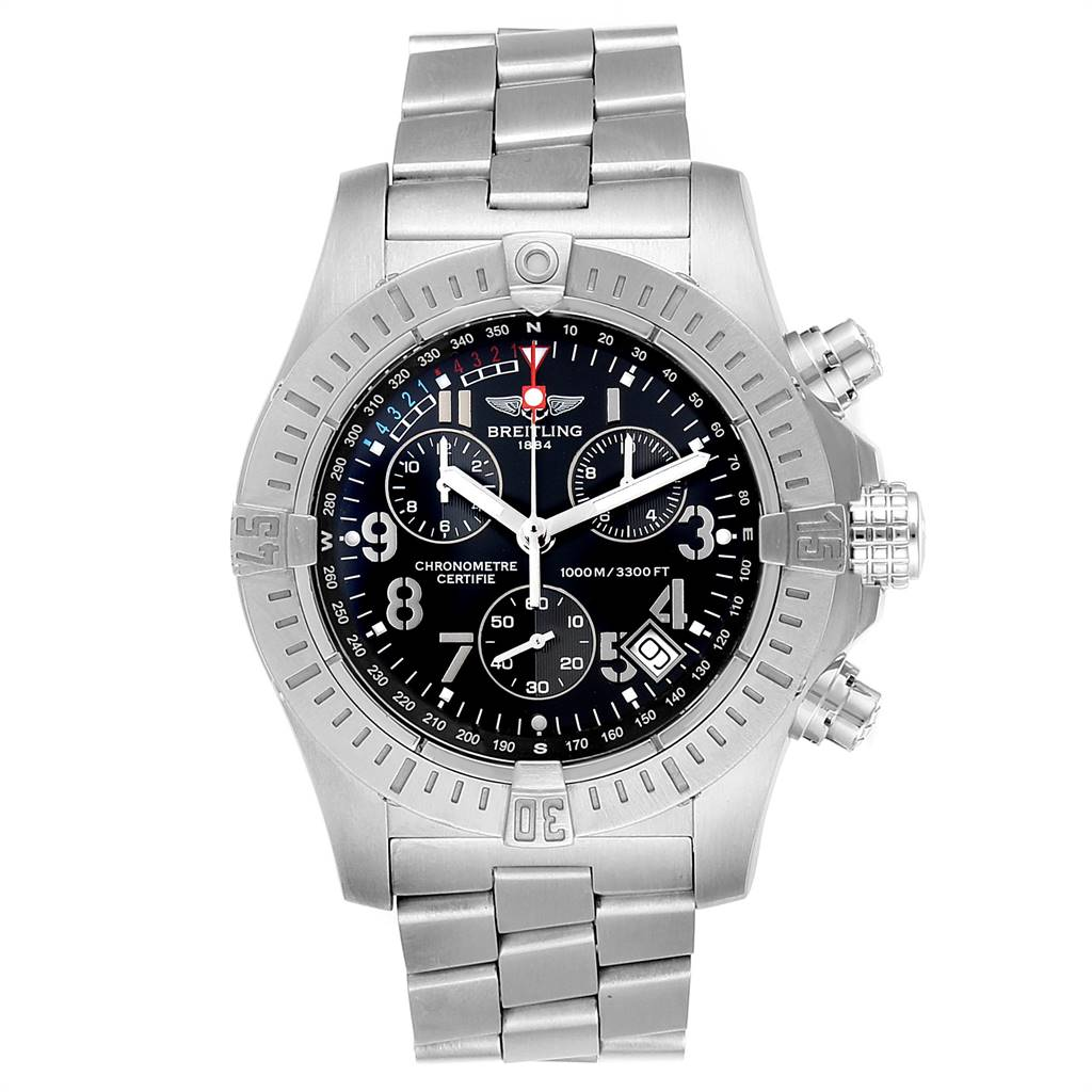 24131 Breitling Avenger Seawolf Black Dial Steel Mens Watch A73390 Box Papers SwissWatchExpo