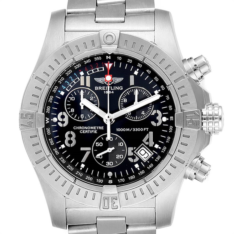 Breitling Avenger Seawolf Black Dial Steel Mens Watch A73390 Box Papers SwissWatchExpo