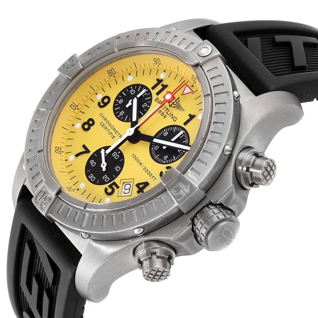 21460 Breitling Aeromarine Chrono Avenger M1 Yellow Dial Titanium Watch E73360 SwissWatchExpo