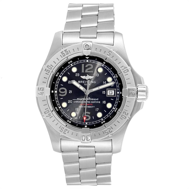 Breitling Superocean Steelfish Black Dial Mens Watch A17390 Box SwissWatchExpo