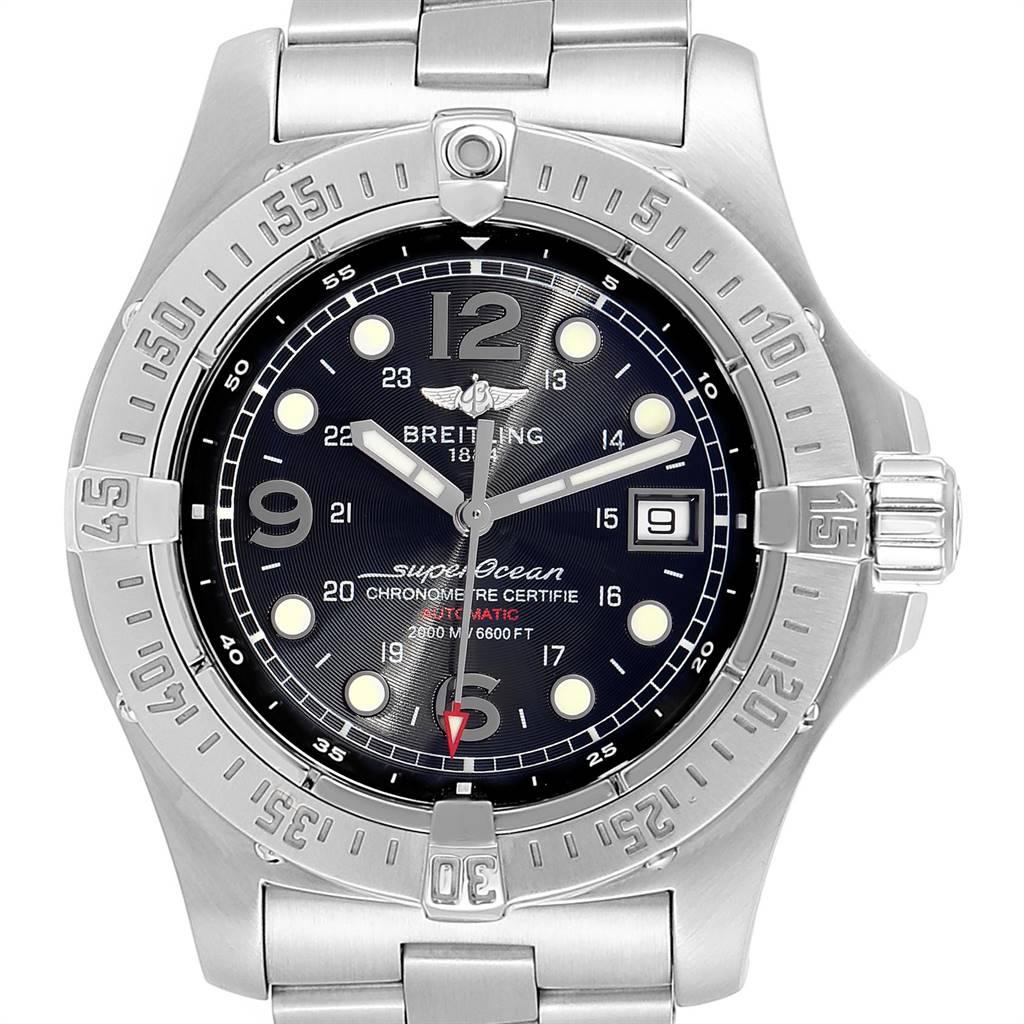 24322 Breitling Superocean Steelfish Black Dial Mens Watch A17390 Box SwissWatchExpo