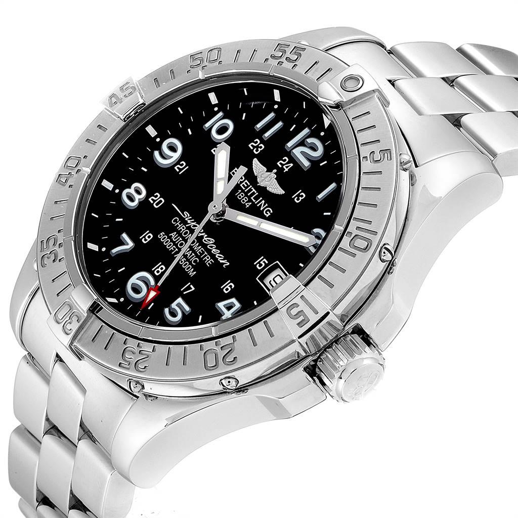 24080 Breitling Superocean Steelfish Black Dial Steel Mens Watch A17360 SwissWatchExpo