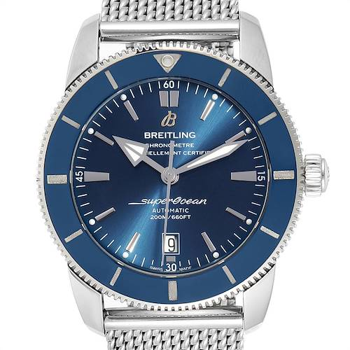 Photo of Breitling Superocean Heritage 46 Blue Dial Mesh Bracelet Watch AB2020