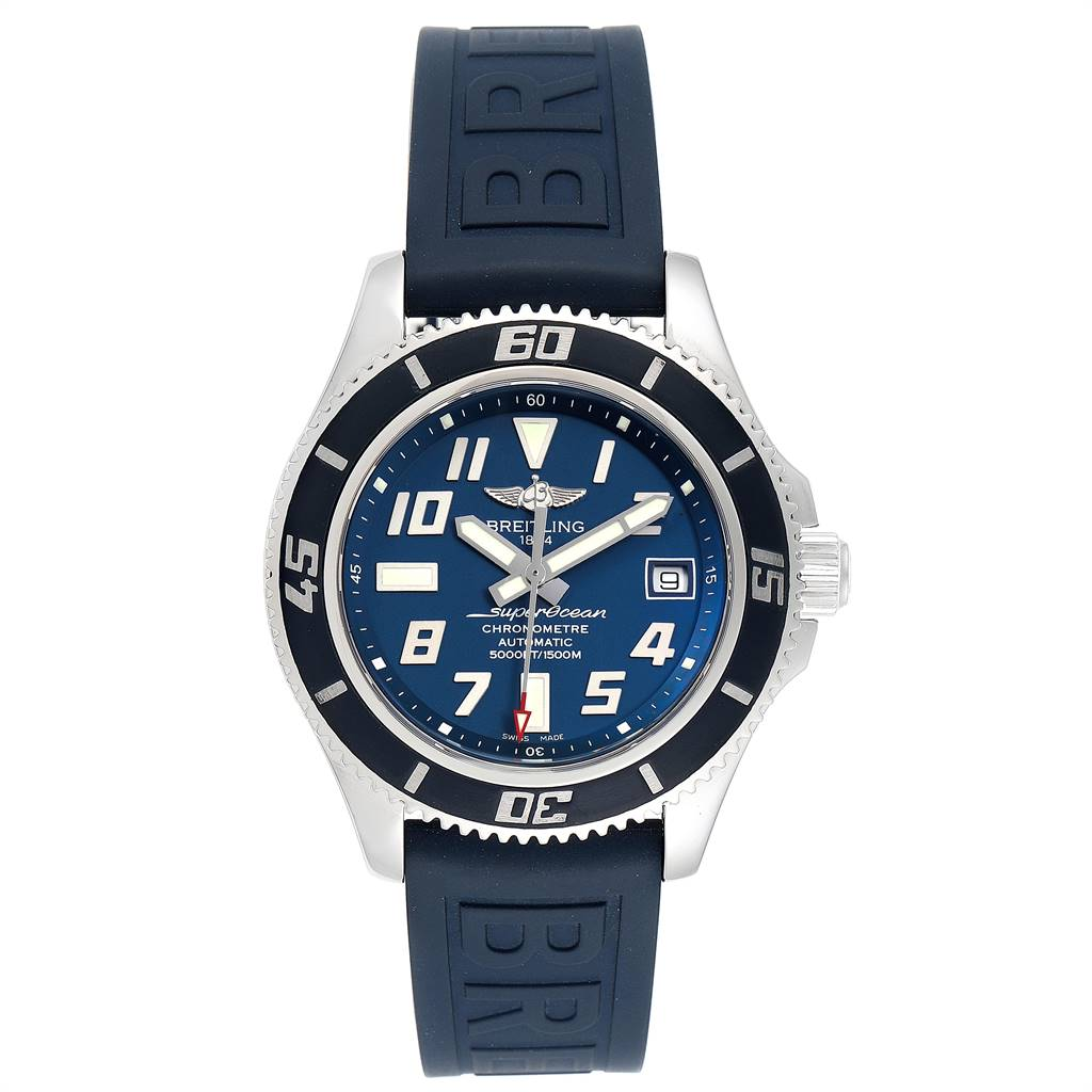 Breitling Superocean Blue Dial Limited Edition Watch A17364 Box Papers SwissWatchExpo