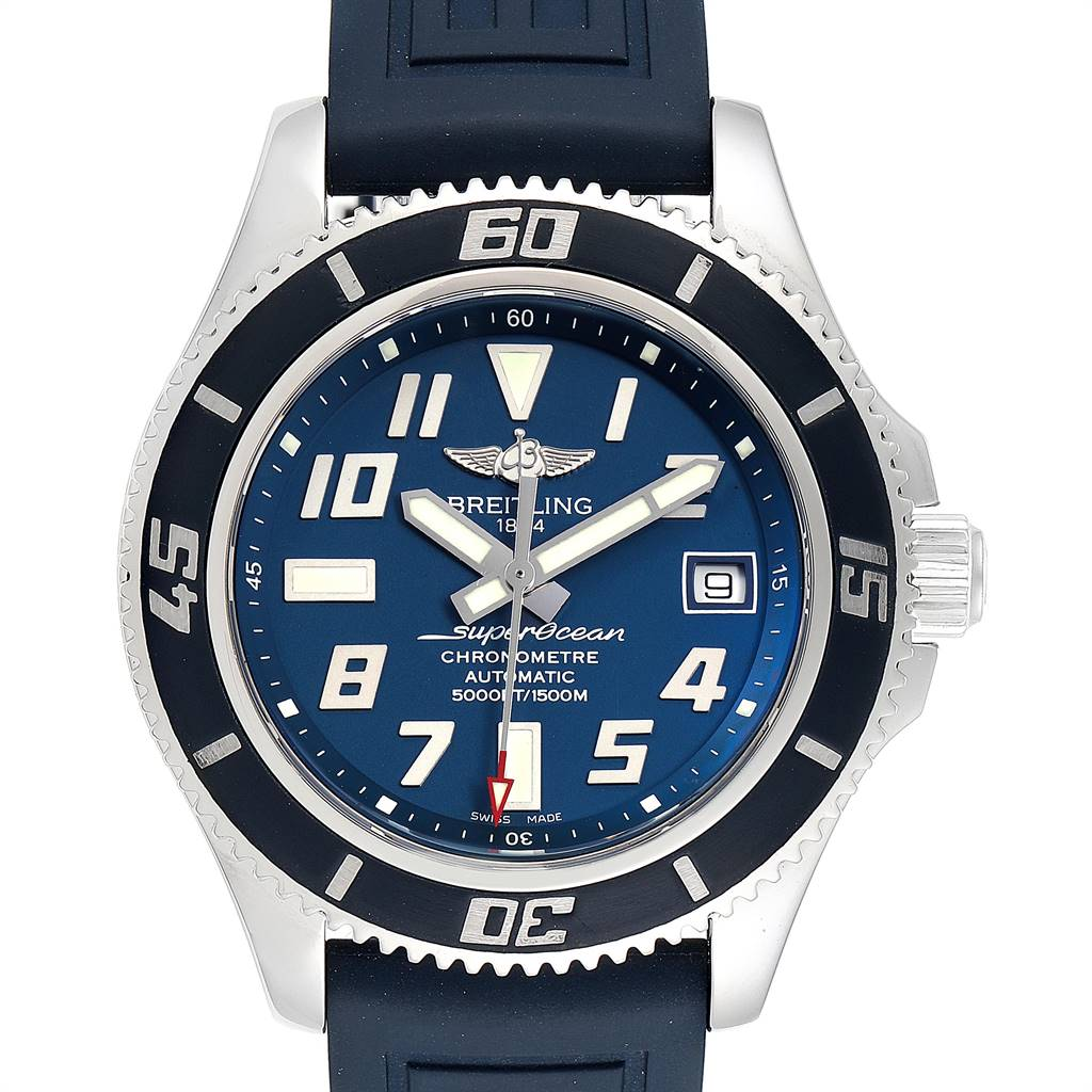 25119 Breitling Superocean Blue Dial Limited Edition Watch A17364 Box Papers SwissWatchExpo